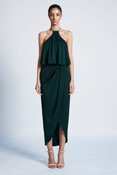 Bridesmaids dress by Australian designer Shona_Joy. The dress is part of the Luxe collection. The Style number is SJ3494. The name of the dress is Luxe Halter Frill Cocktail Draped Dress. This bridesmaids dress is available in Melbourne at our store Bridesmaids Dressing Room. Front view of the dress. Shown in Emerald colour.