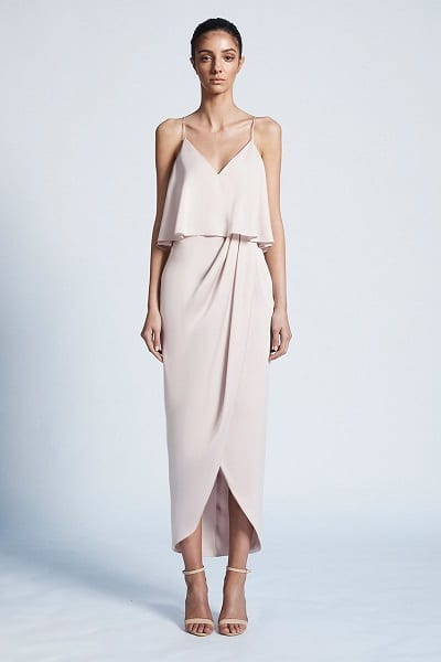 Bridesmaids dress by Australian designer Shona_Joy. The dress is part of the Luxe collection. The Style number is SJ3499. The name of the dress is Luxe Draped Cocktail Frill Dress. This bridesmaids dress is available in Melbourne at our store Bridesmaids Dressing Room. Front view of the dress. Shown in Porcelain colour.