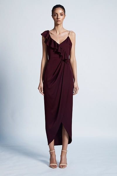 Bridesmaids dress by Australian designer Shona_Joy. The dress is part of the Luxe collection. The Style number is SJ3510. The name of the dress is Luxe Asymmetrical Cocktail Frill Dress. This bridesmaids dress is available in Melbourne at our store Bridesmaids Dressing Room. Front view of the dress. Shown in Garnet colour.