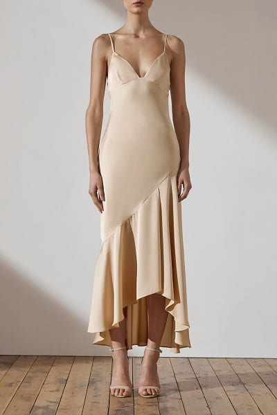 Bridesmaids dress by Australian designer Shona_Joy. The dress is part of the Luxe collection. The Style number is SJ3920. The name of the dress is Luxe Bias Asymmetrical Slip Dress. This bridesmaids dress is available in Melbourne at our store Bridesmaids Dressing Room. Front view of the dress. Shown in Champagne colour.